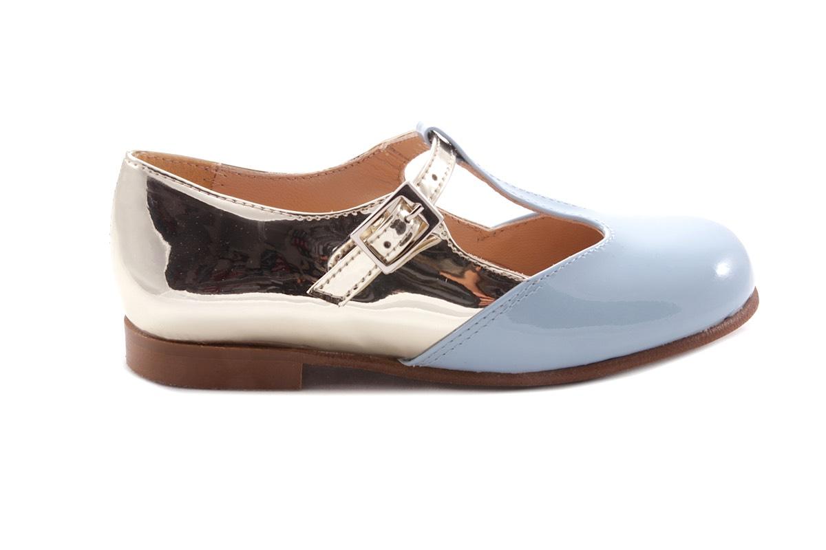 Schoen Gesp Blauw Lak En Goud Achteraan T-model