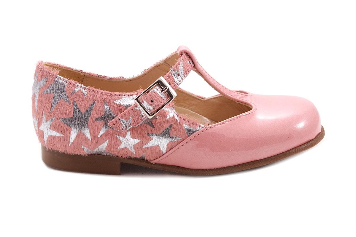 Schoen Gesp Roze Haartjes Ster Achter/ Roze Lak Voor T-model