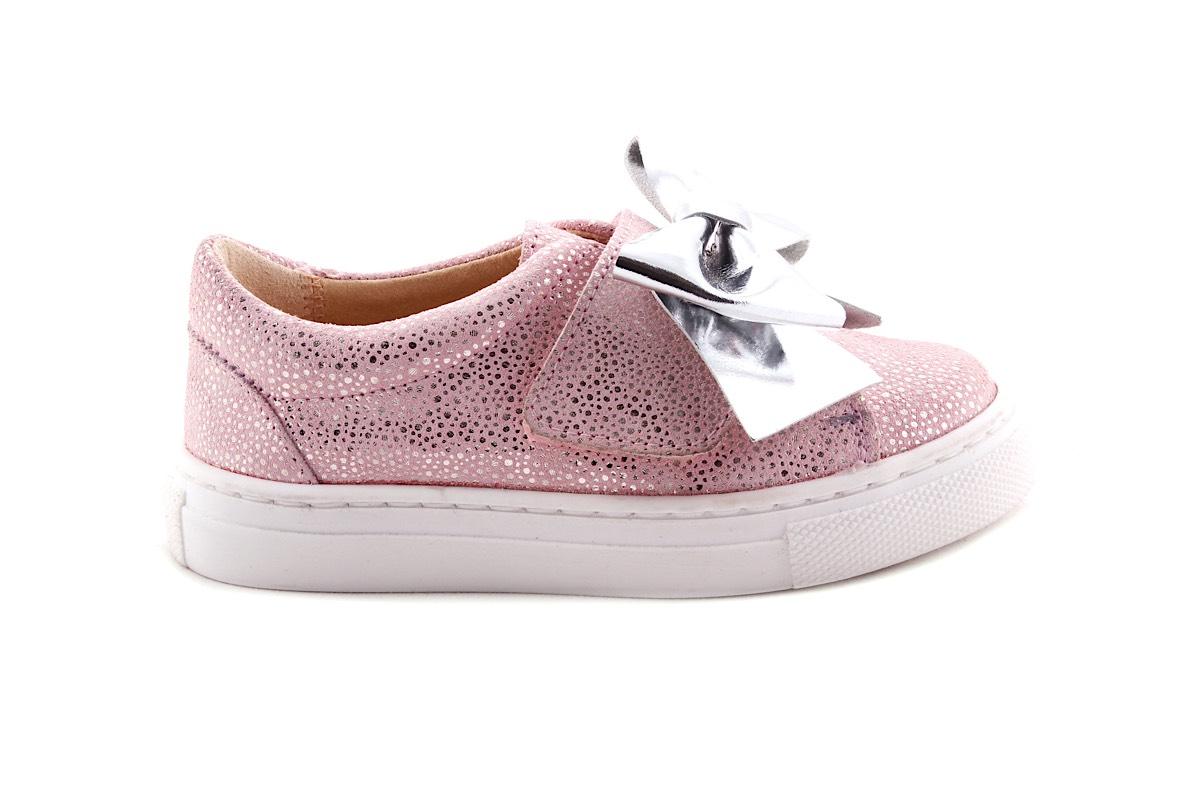 Sneaker Velcro Roze Met Zilver Bolletjes met Strikje Zilver