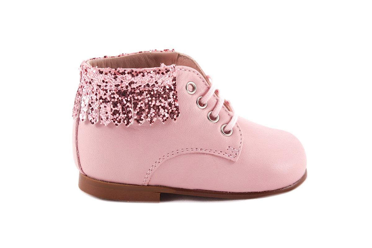 Veterschoen Roze Leder met Franje Roze Glitter