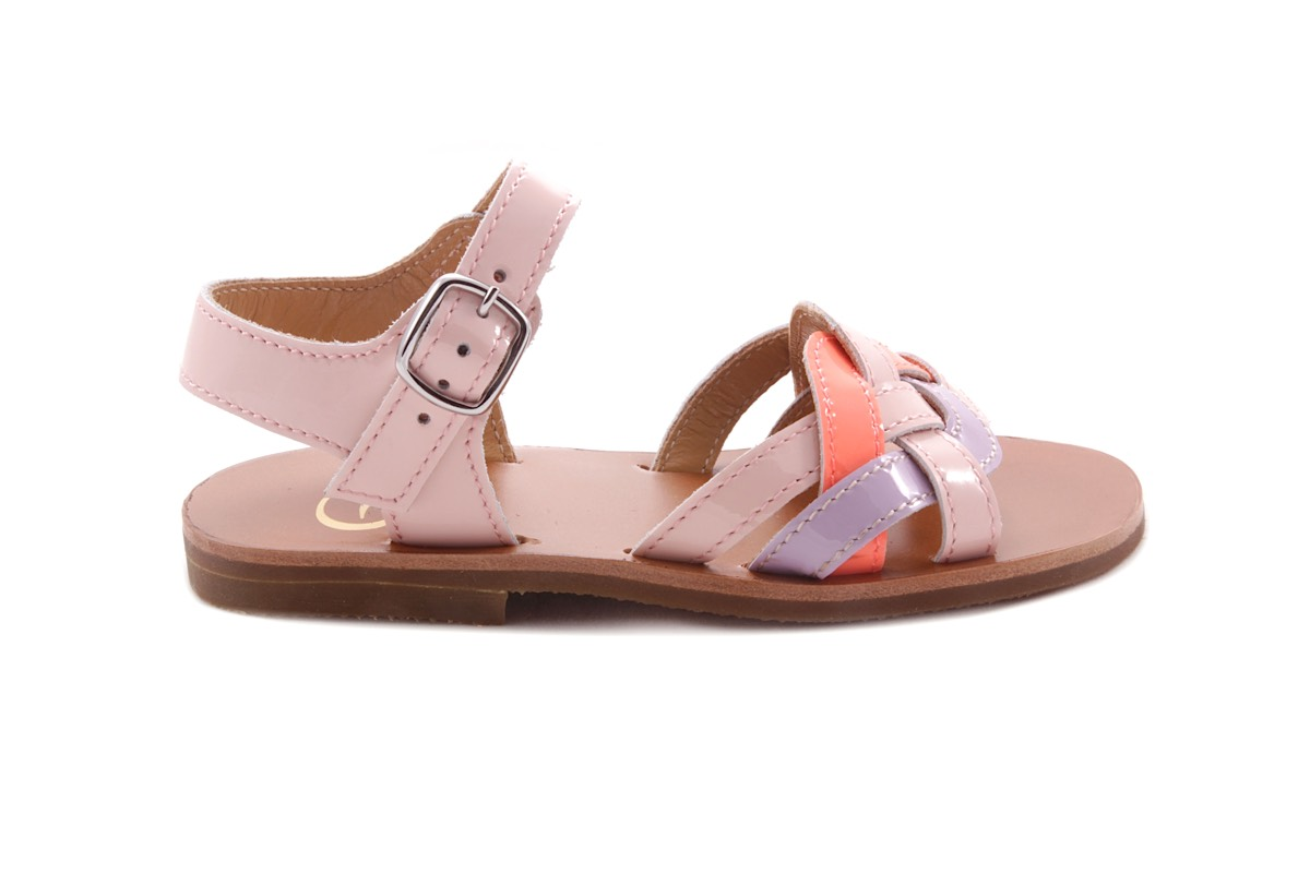 Sandaal Multibandjes Vooraan Roze En Lila En Fluo Koraal