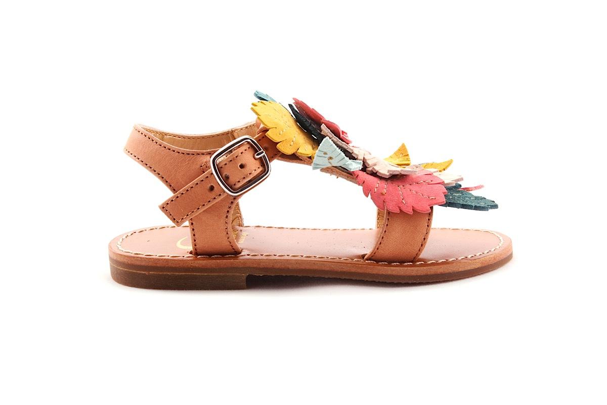Sandaal Multi Blaadjes Lichtroze Leder