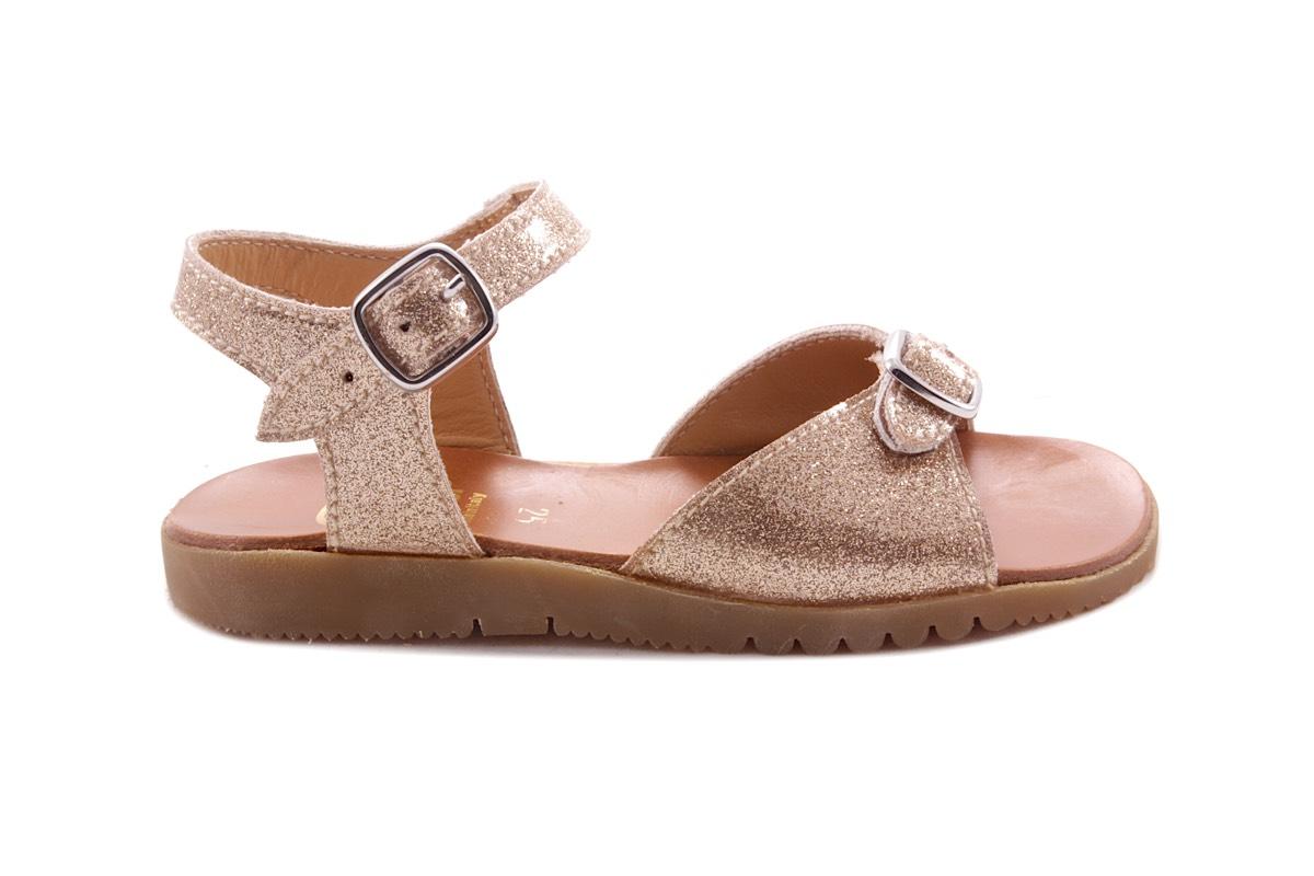 Sandaal 1 Gespje Vooraan Glitter Goud