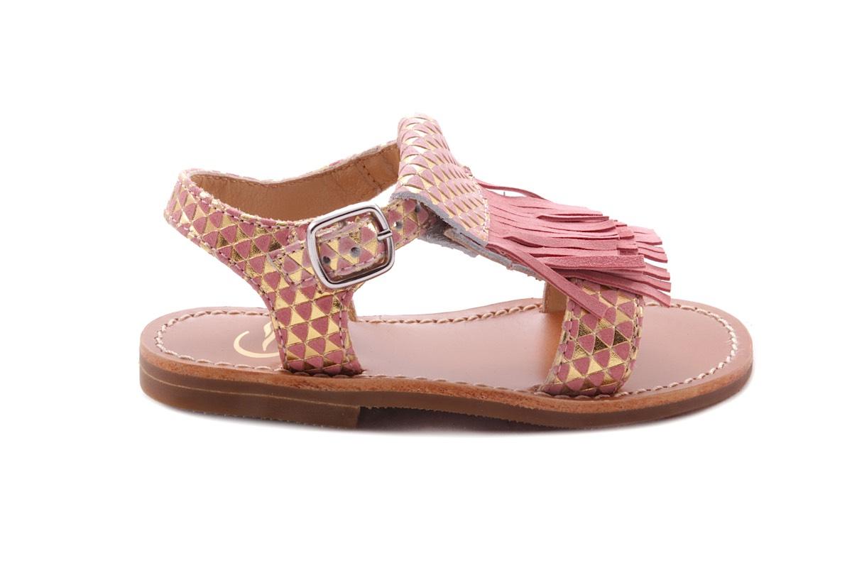Sandaal Franje Roze Leder Driehoekjes Roze