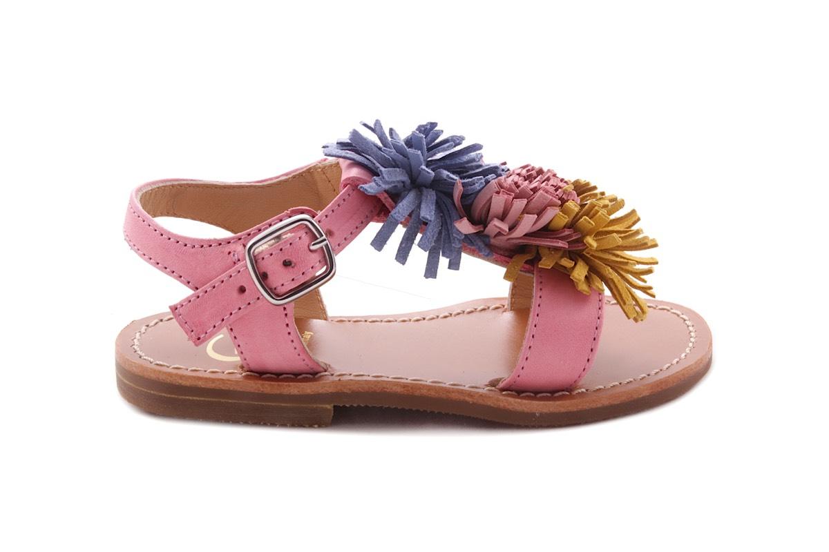 Sandaal Multi Fringes Klein Roze Leder