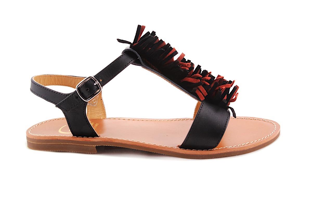 Sandaal Multi Fringes Zwart Leder