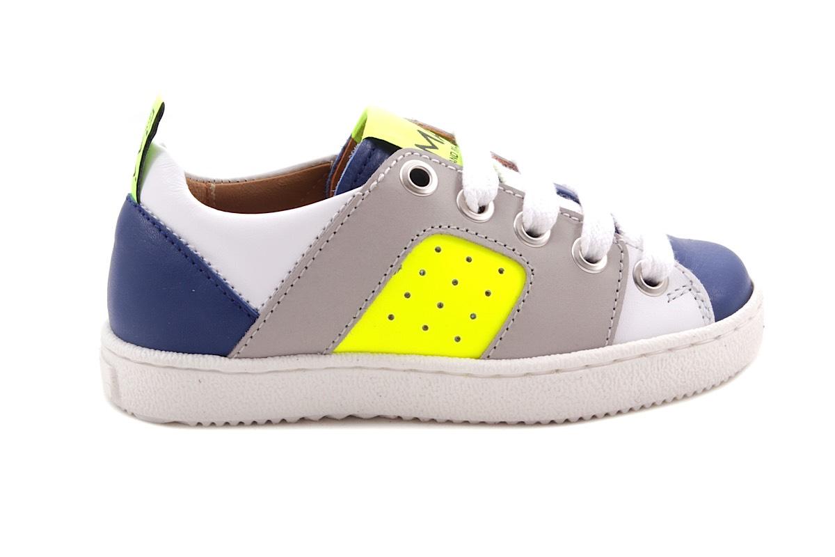 Sneaker Blauw En Wit En Fluo Geel Laag