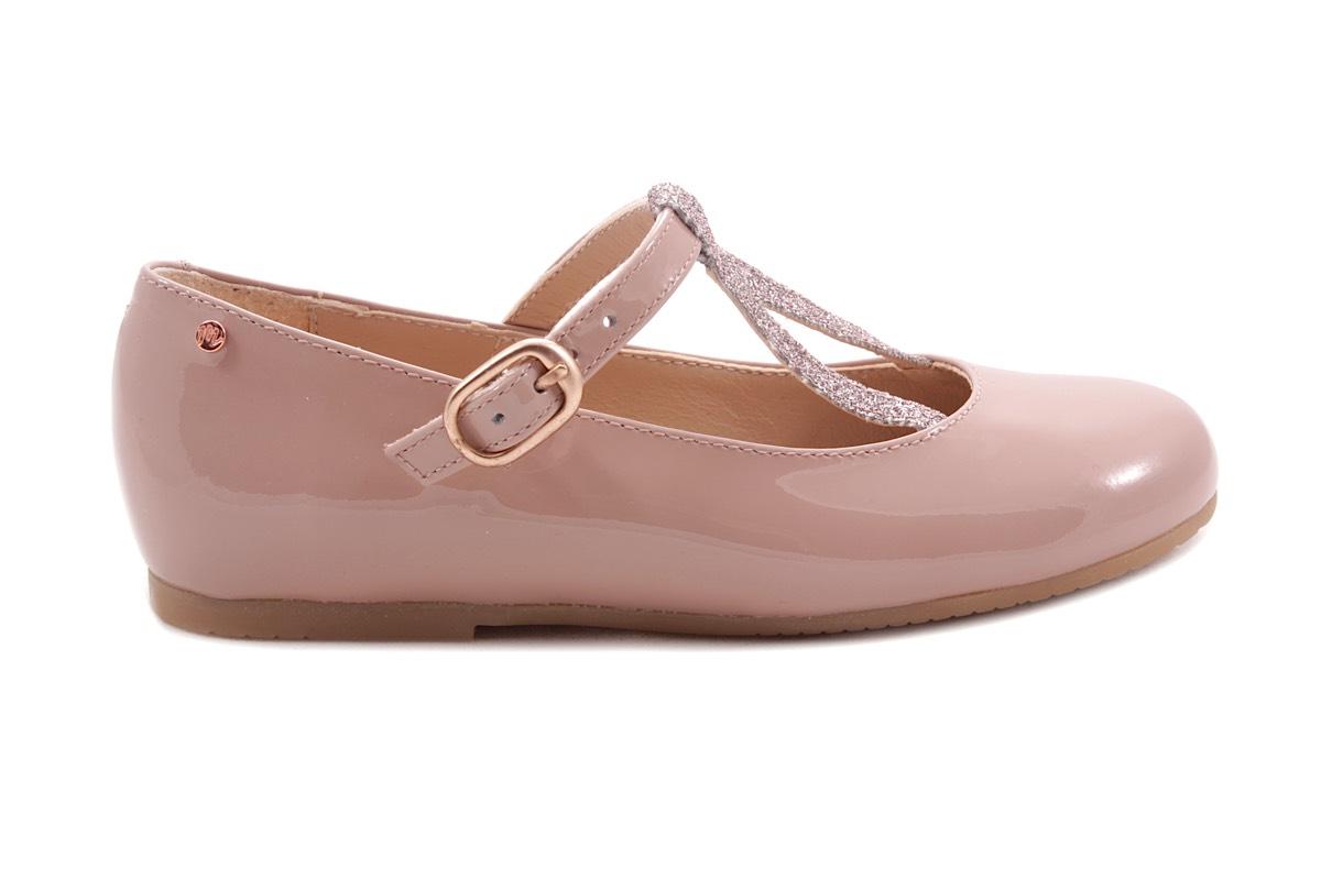 Schoen Gesp Omgekeerde V Roze Lak En Glitter