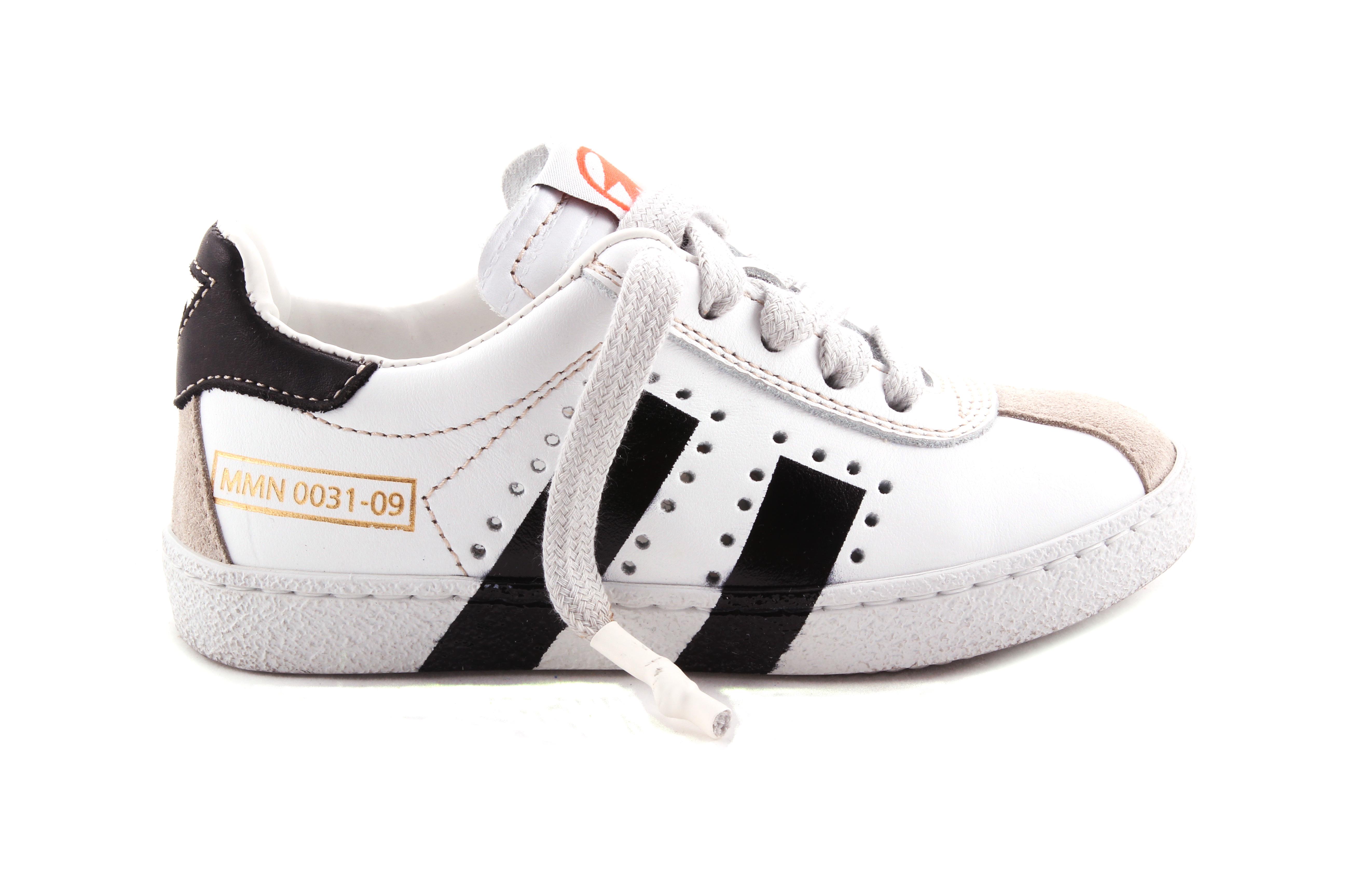 Sneaker Veter En Rits Wit Met 2 Zwarte Strepen