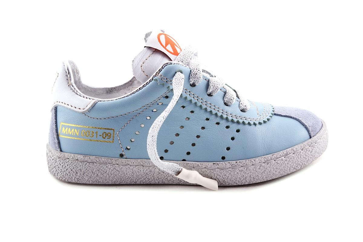Sneaker Blauw Zilver Veter En Rits