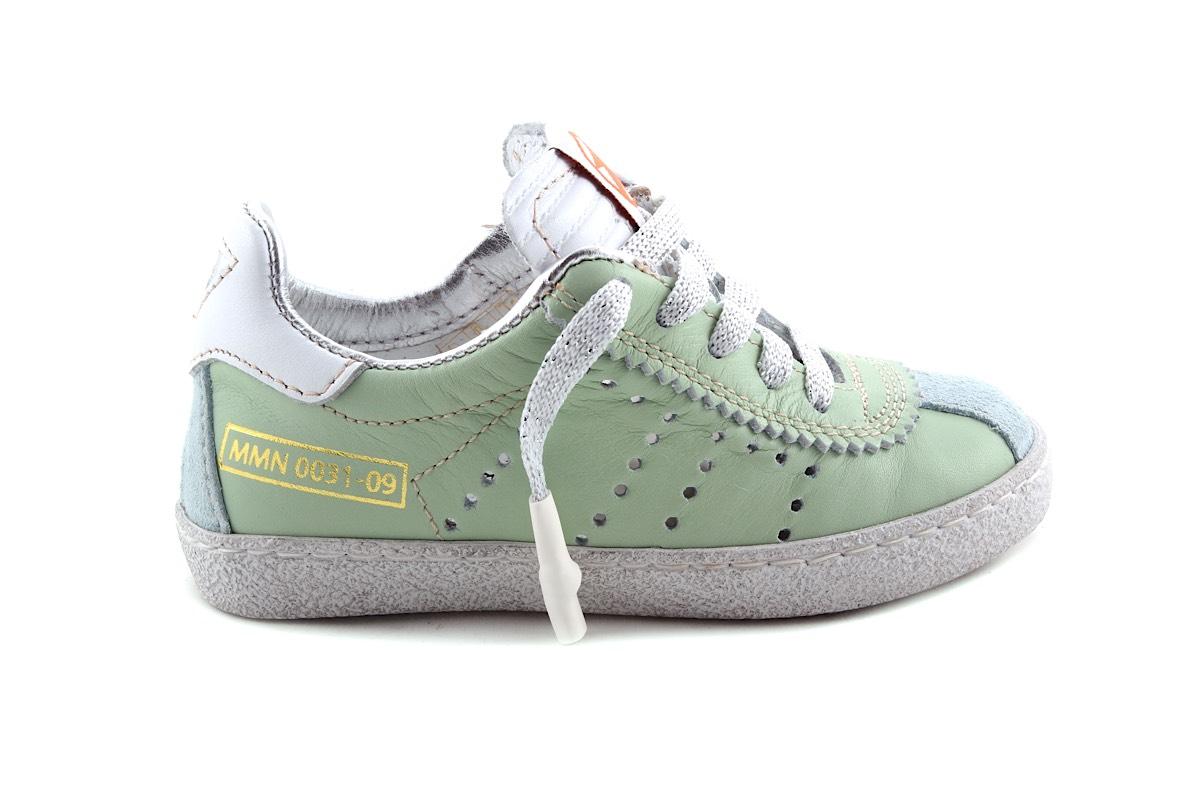 Sneaker Mint Zilver Veter En Rits