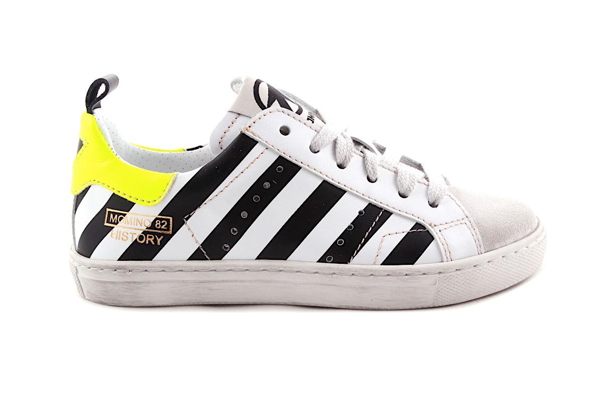 Sneaker Veter En Rits Wit Met Vele Zwarte Strepen