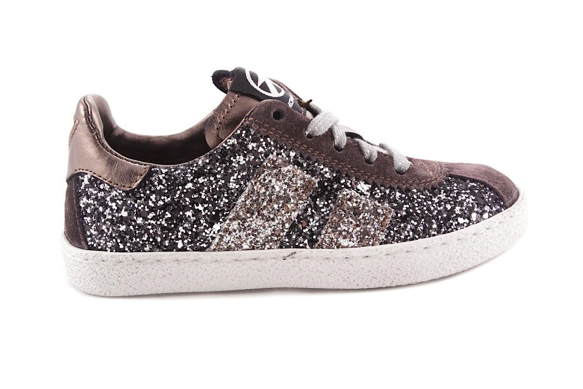 Sneaker Glitter Grijs Zwart 2 Strepen Laag