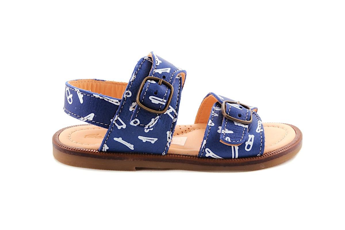 Sandaal Blauw Met Skateboard 2 Gespen