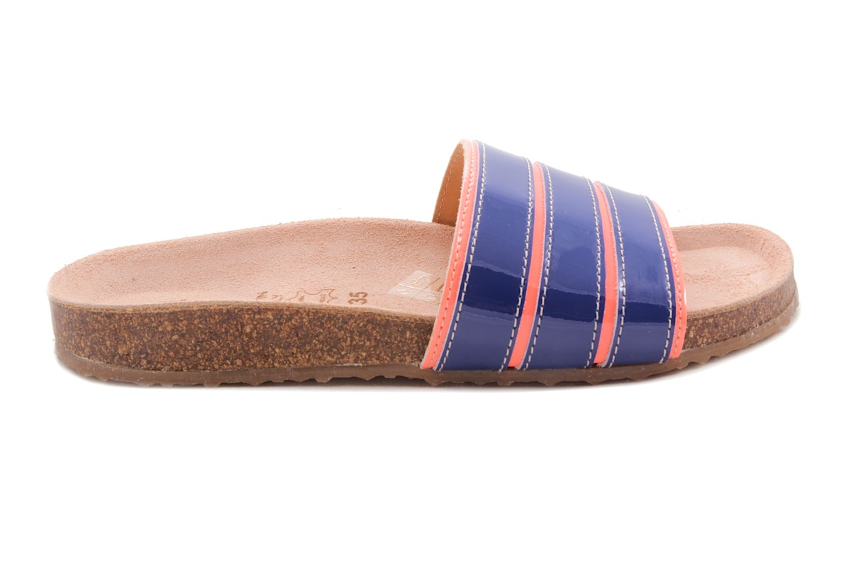Sandaal Fluo Oranje Blauwe Strepen