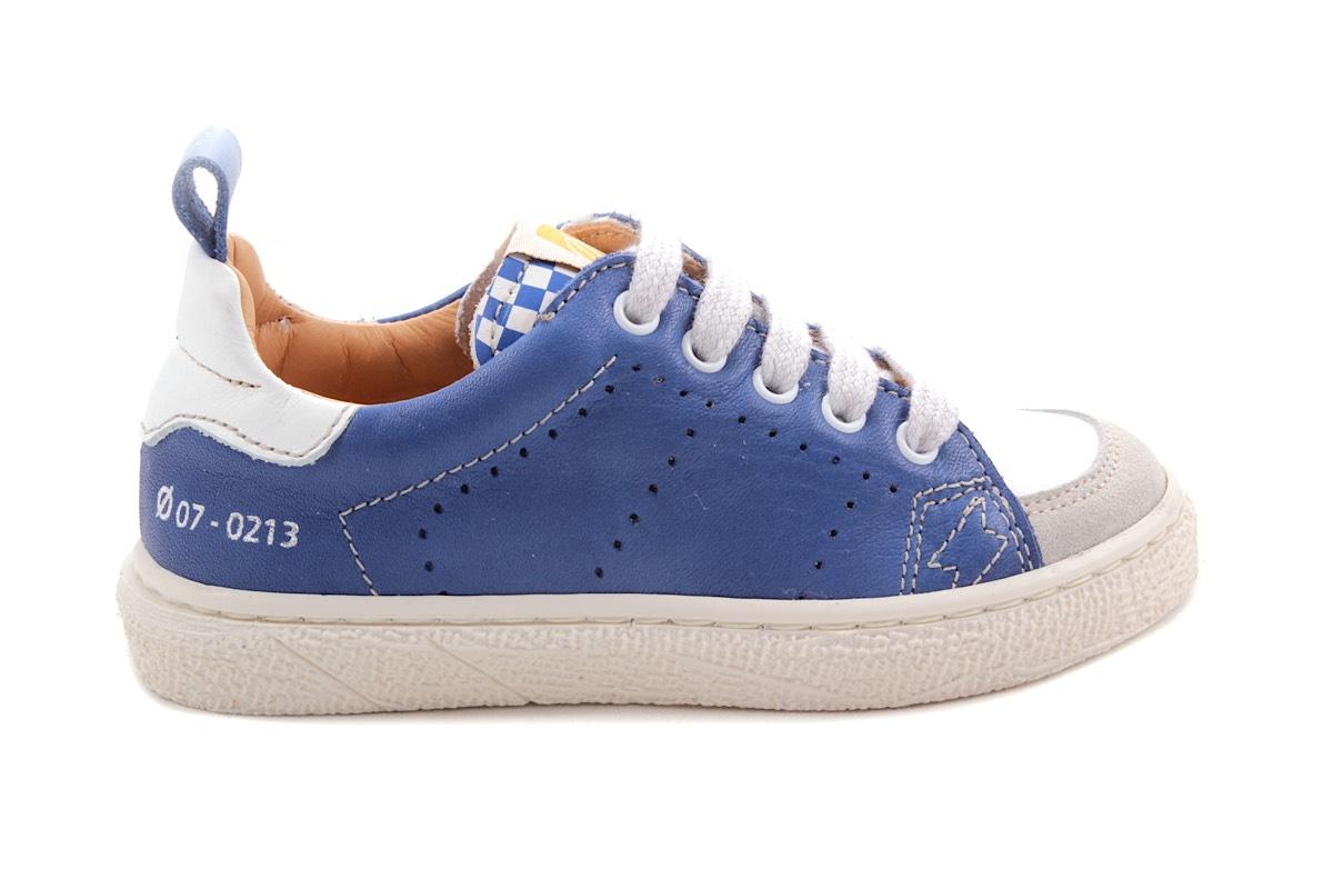 Sneaker Laag Veter Blauw En Carreau Lip