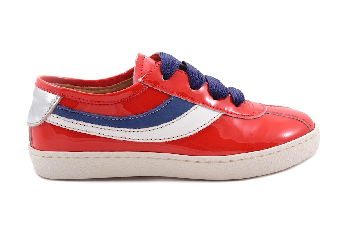 Sneaker Lak Rood Wit En Blauw Accent