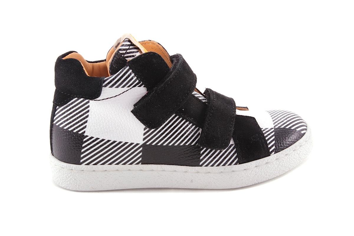 Sneaker Wit Met Zwarte Carreau Velcro