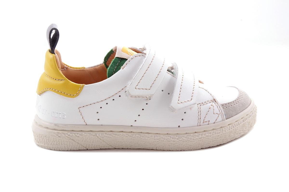 Sneaker Laag Velcro Wit En Groen/geel