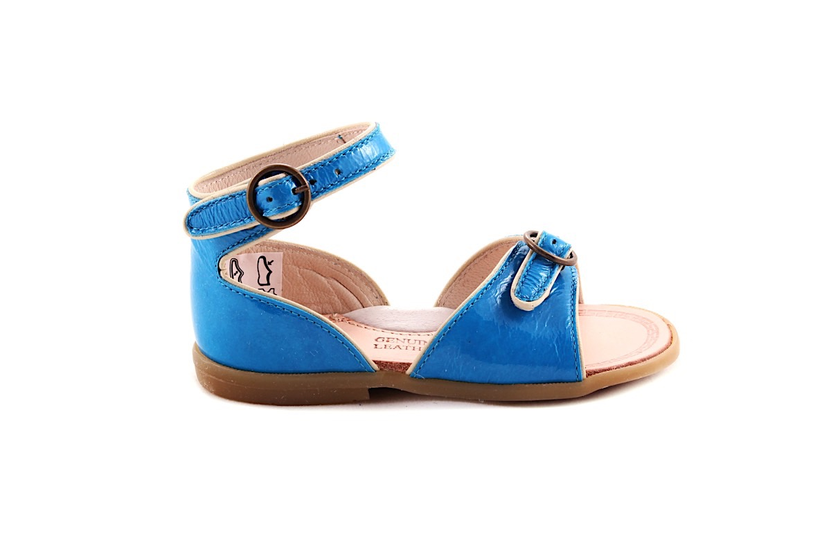 Sandaal 2 Gespjes Blauw Lak Met Wit Biesje