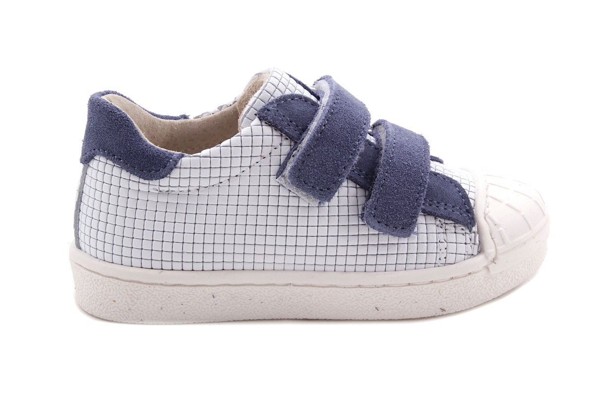 Sneaker Wit Blokjes Velcro Blauw