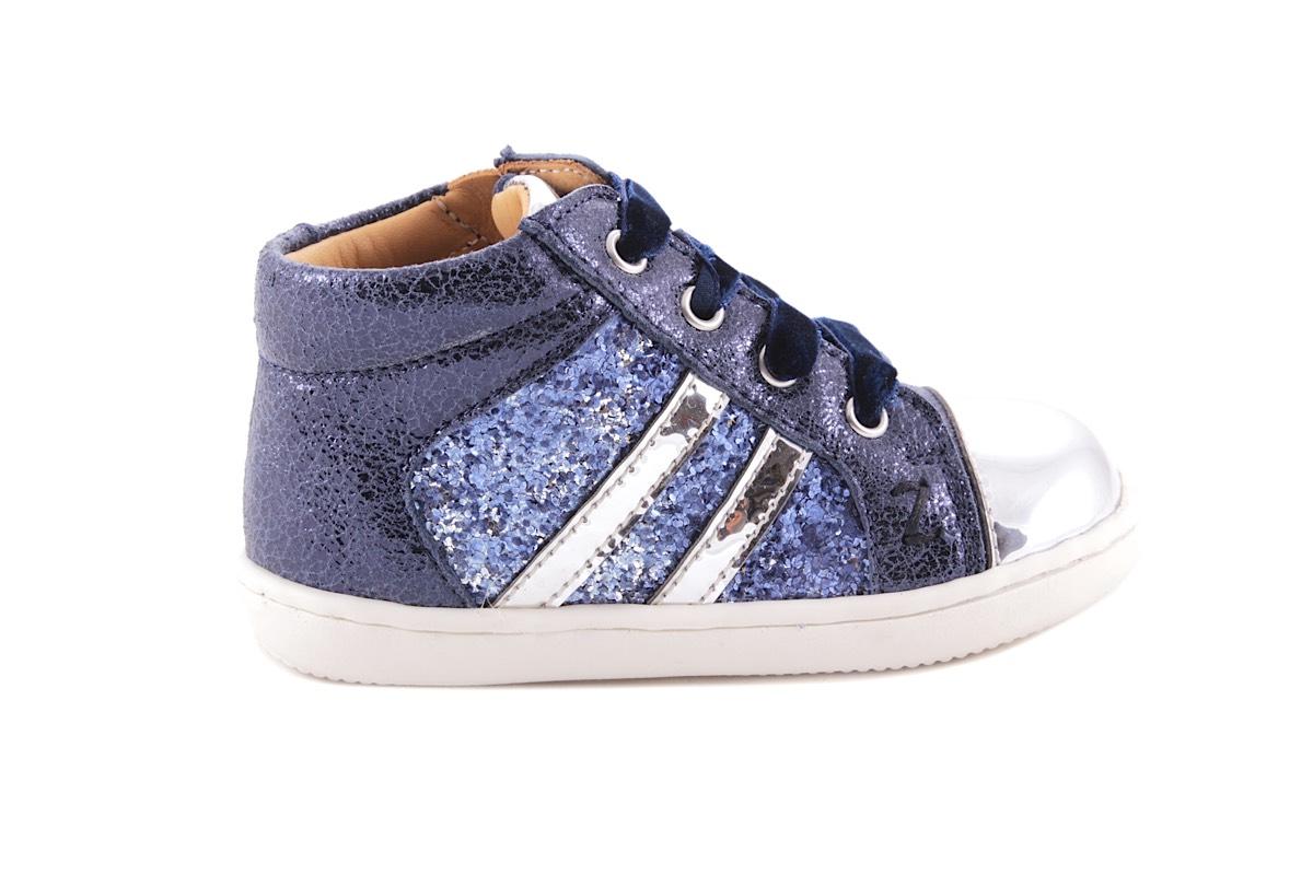Sneaker Blauw Leder Met Blink Tip 2 Strepen