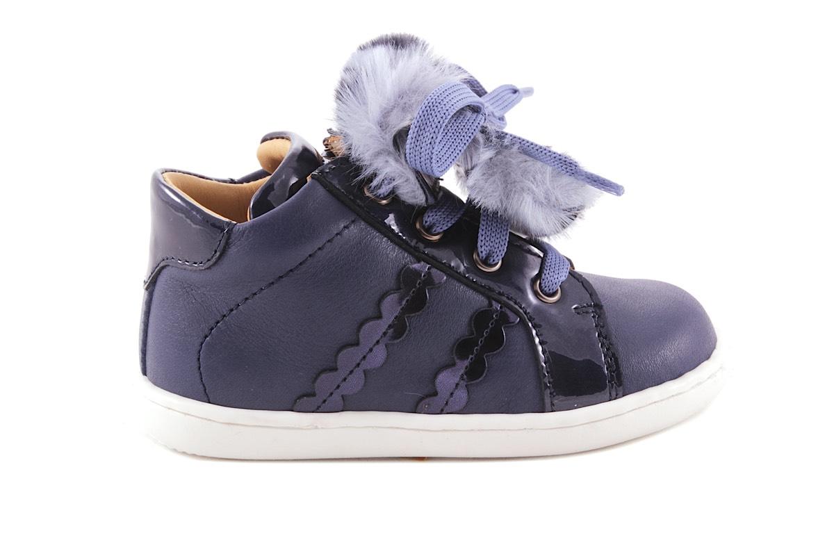 Sneaker Blauw Leder Pelsje