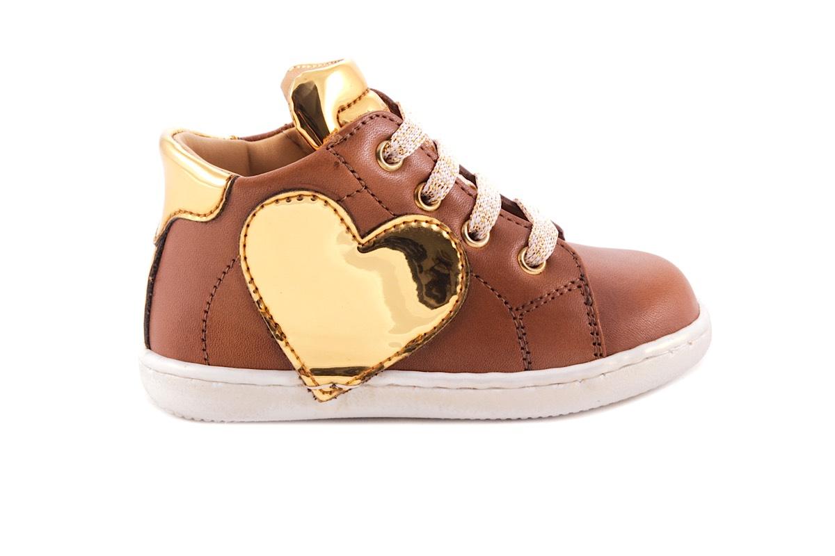 Sneaker Cognac Leder Gouden Hart