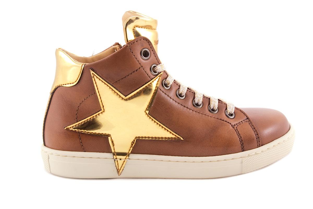 Sneaker Cognac Leder Gouden Ster
