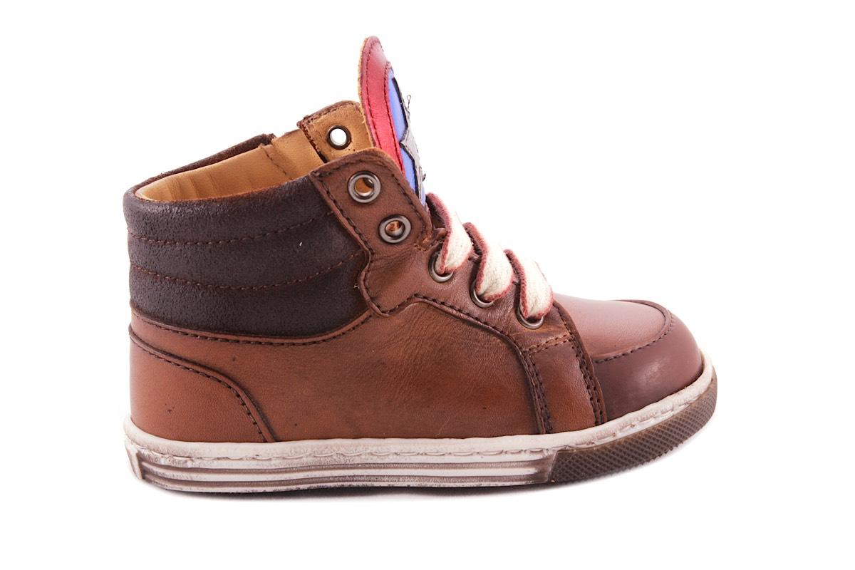 Sneaker Klein Bruin Rubber Tipje Blink Ster Blauw Rood