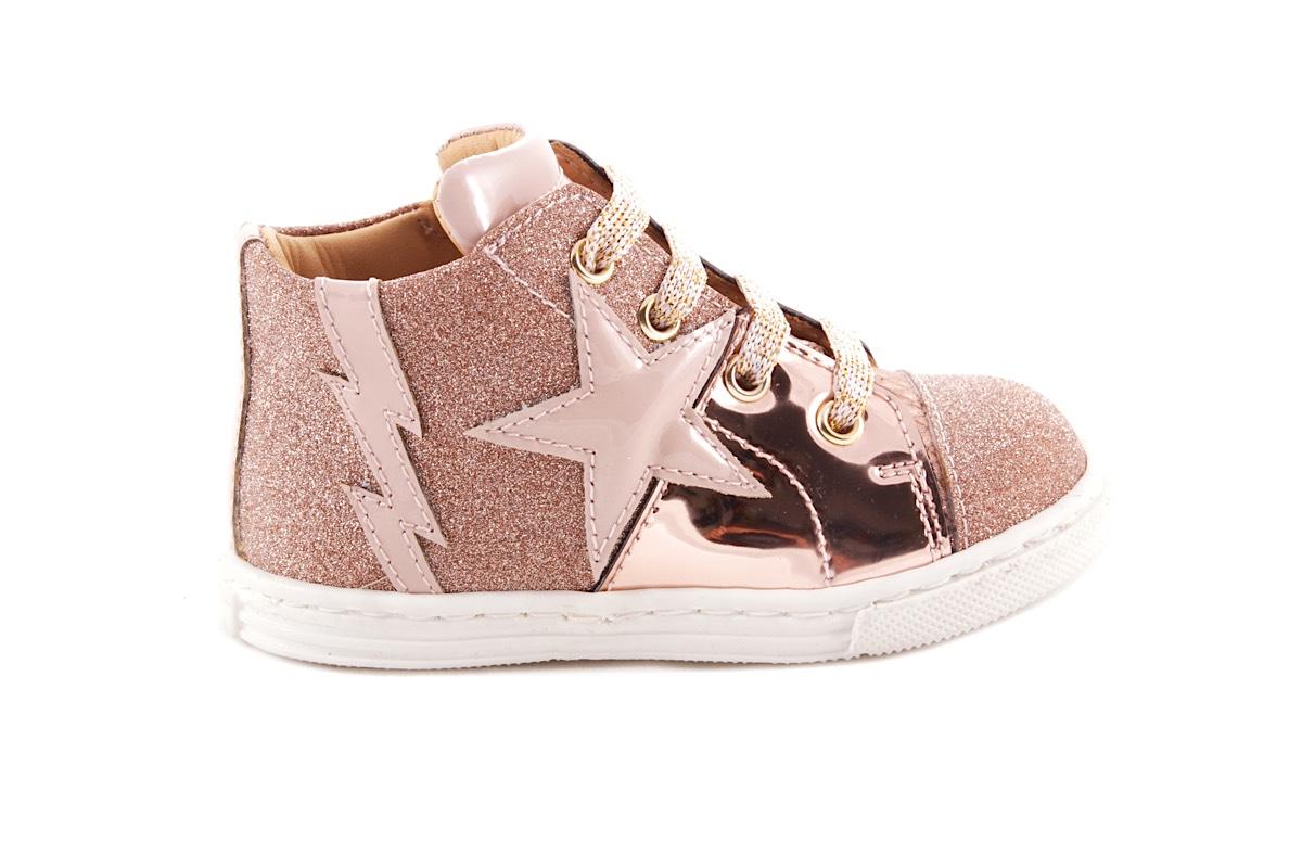 Sneaker Klein Roze Leder En Glitter Ster En Bliksem