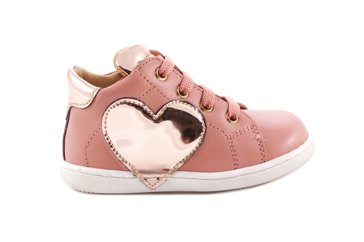 Sneaker Roze Leder Zilver Hart