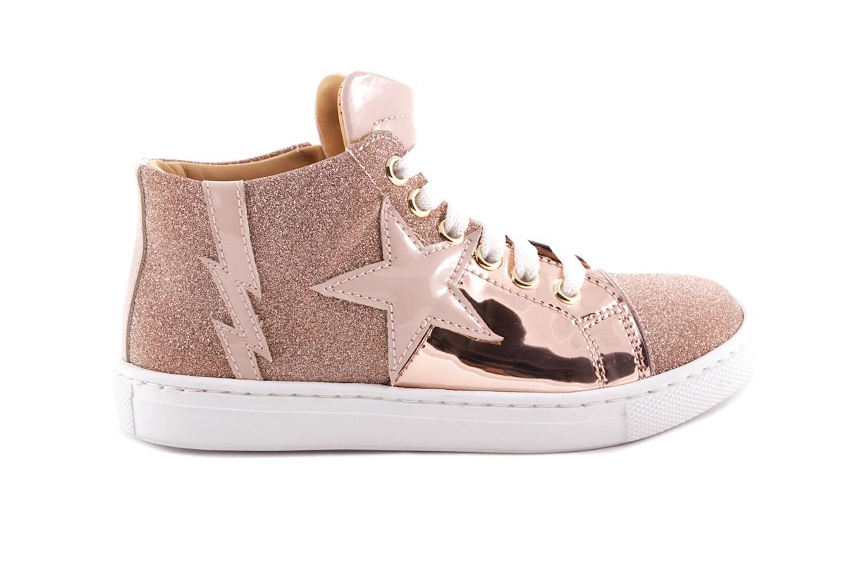 Sneaker Groot Roze Leder En Glitter Ster En Bliksem