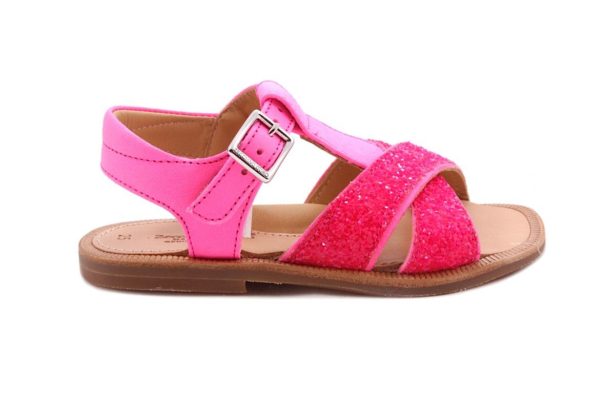 Sandaal Open Hiel Glitter En Fluo Roze