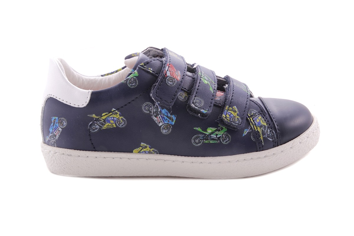 Sneaker Blauw Met Moto 3 Velcro