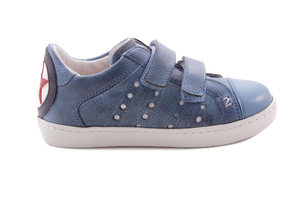 Sneaker 2 Velcro Blauw Waxed