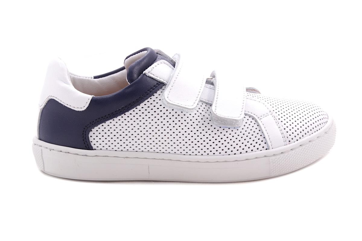 Sneaker Velcro Wit Gaatjes En Blauw Accent