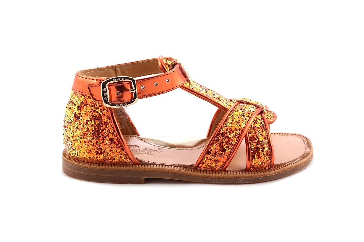 Sandaal Oranje Glitter Gesloten Hiel