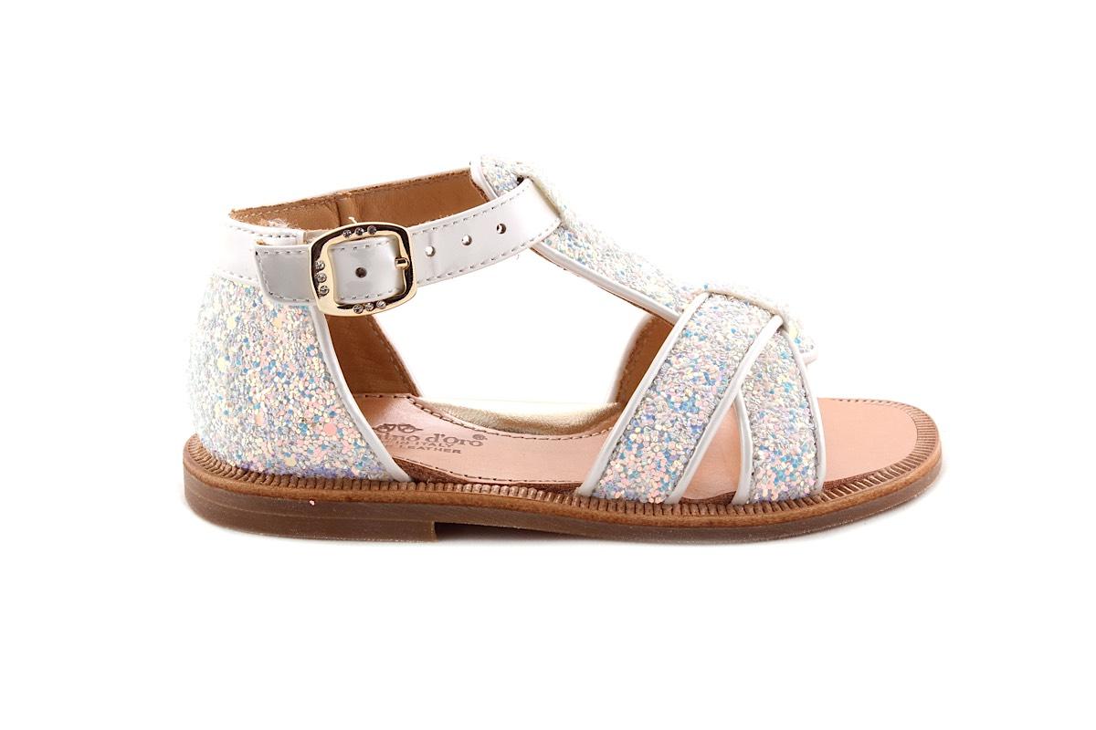 Sandaal Wit met Multiglitter Gesloten Hiel