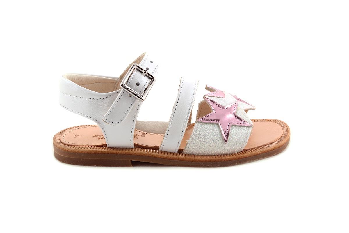 Sandaal Sterretjes Vooraan Wit Met Roze Metallic Sterretjes