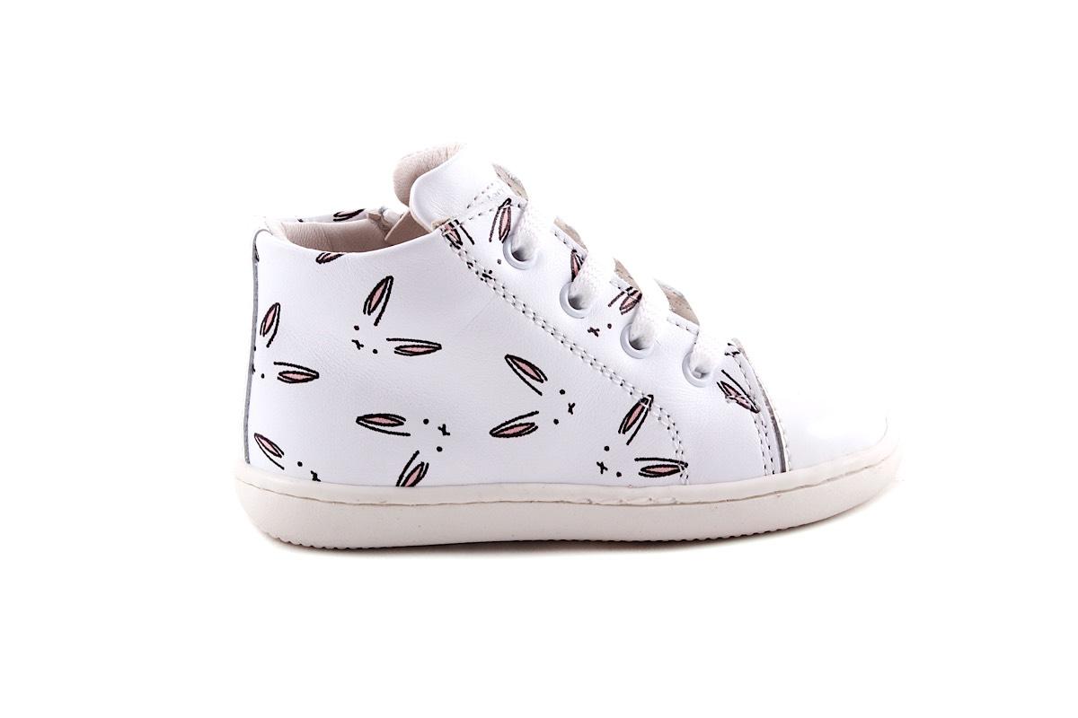 Sneaker Wit Konijntjes Klein Halfhoog
