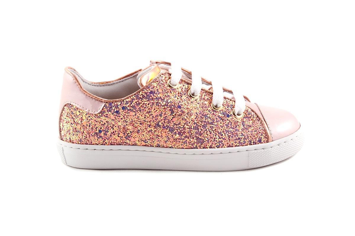 Sneaker Roze lak en Multiglitter Groot Laag