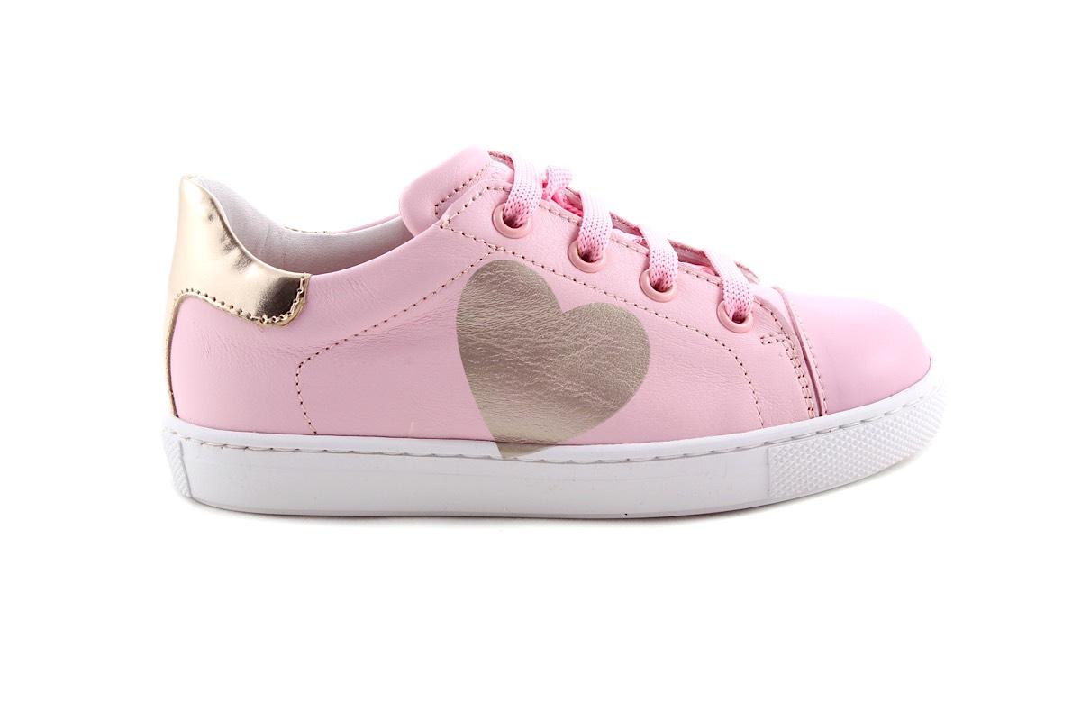 Sneaker Roze Met Gouden Hartje Hart Laag