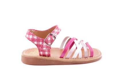 sandaal multi wit en roze carreau achteraan