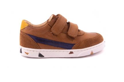 Sneaker Laag 2 Velcro  Cognac Leder En Blauw Detail