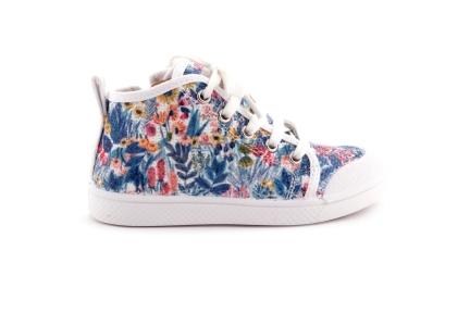 Sneaker Bloemen Paillettes Veter Hoog