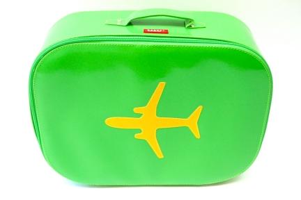 Bakker made with love reiskoffer met vliegtuig print (groen)