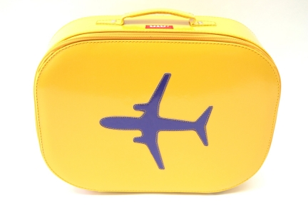 Bakker made with love reiskoffer met vliegtuig print (geel)