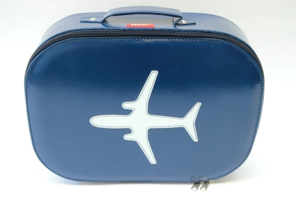 Bakker made with love reiskoffer met vliegtuig print (donkerblauw)