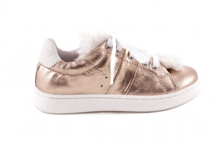 Sneaker Rose Metallic Veter Wit Pelsje